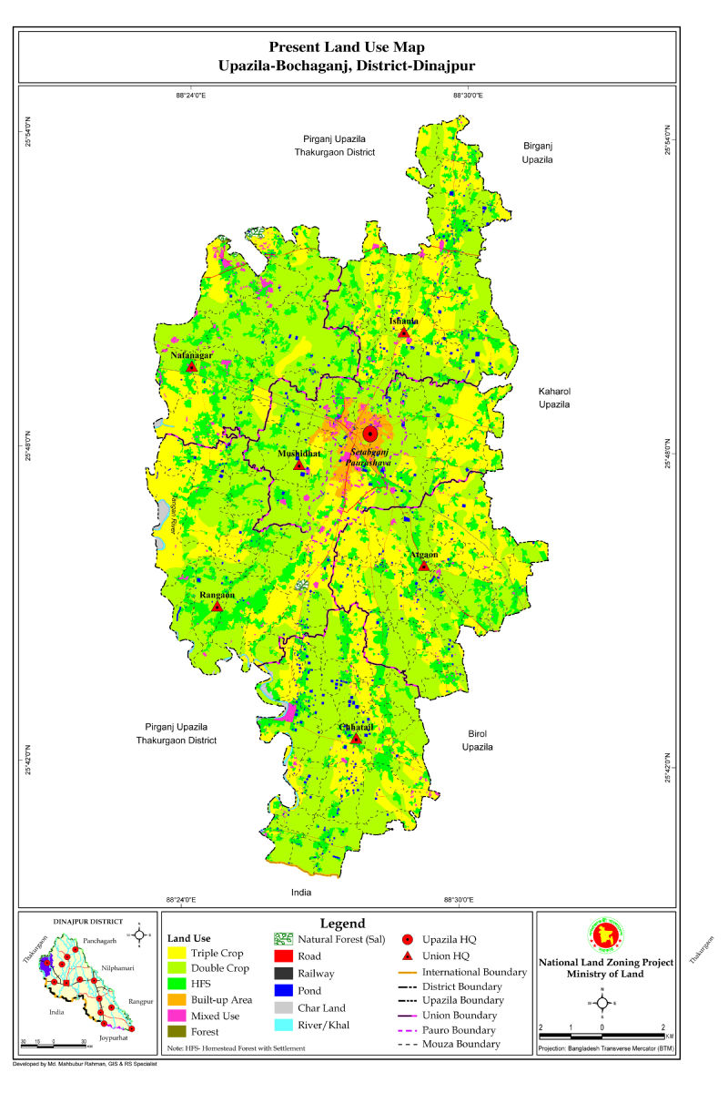 Bochaganj Upazila Mouza Map Dinajpur District Bangladesh