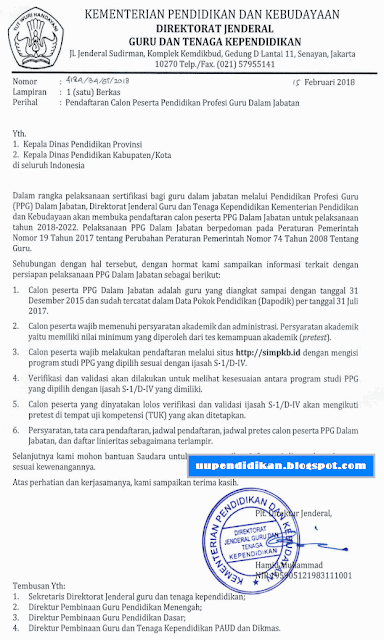 Pendaftaran calon peserta PPGJ/PPG Tahap II Tahun 2018