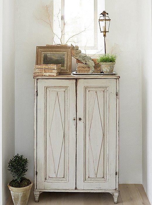 Swedish antique cupboard modern farmhouse neutral European antique style Patina Farm Giannetti Home