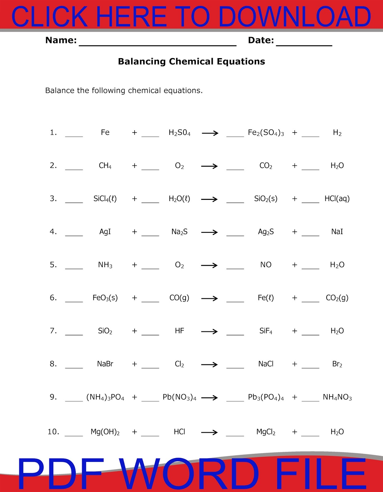 Workout Balancing Equations Worksheet