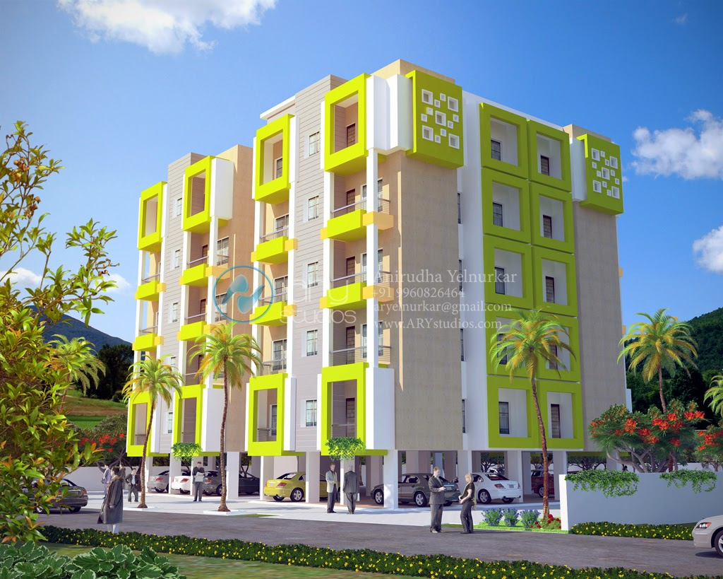 Modern Apartment Building Elevations: ARY Studios 3D Architectural Rendering Walkthroughs