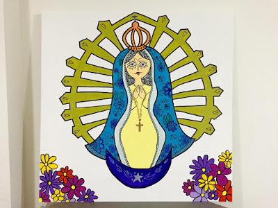 cuandos decoraticos, virgen itatí, virjen de luján, cuadros virgen, cuadros virgenes, virgen ilustrada. lola mento, lolamento, ilustraciones lolamento