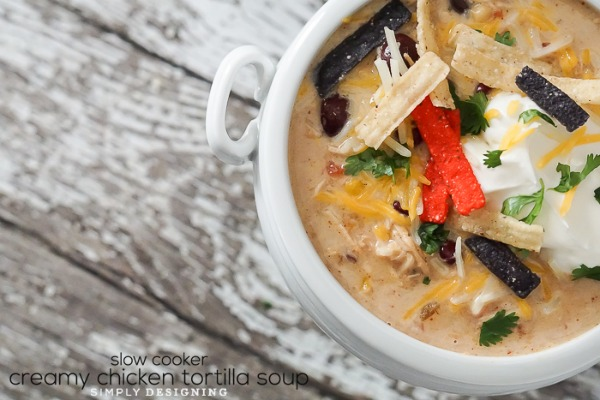 Slow Cooker Creamy Chicken Tortilla Soup from Simply Designing