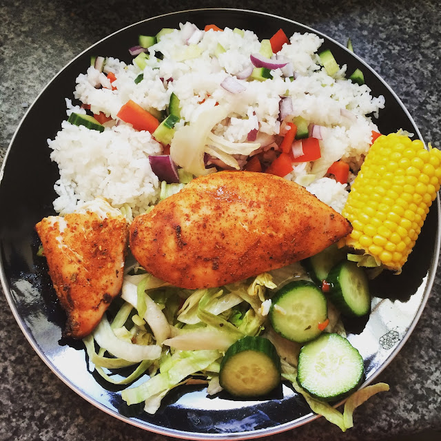 healthy meal, nando chicken, salad, rice, corn cob