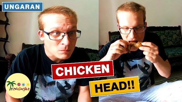 bule masuk pasar dan makan kepala ayam