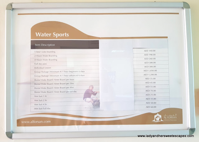 Al Forsan Water Sports price list