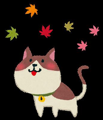 紅葉のイラスト「猫」