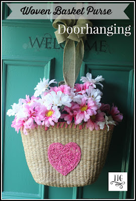 easy, thrifty and pretty! How to make a woven basket purse doorhanging at thethriftygroove.com