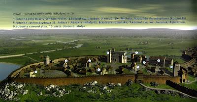 Wzgórze Wawelskie w XII wieku (rekonstrukcja).