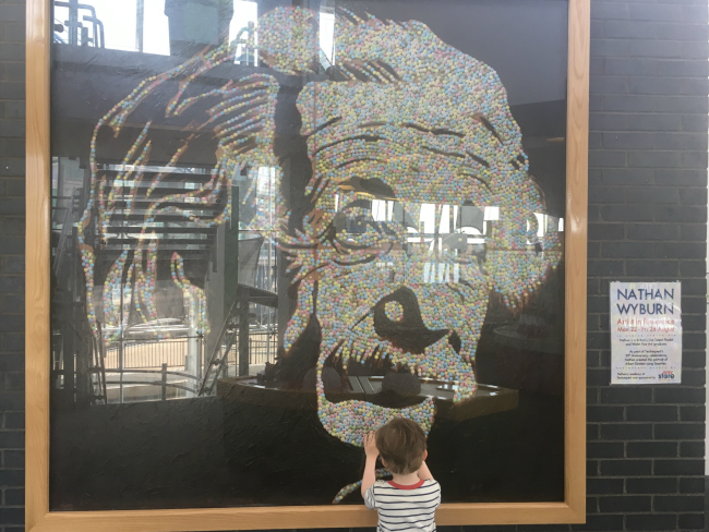 Our-weekly-journal-26th-June-2017-toddler-at-Techniquest-Cardiff-Bay-Nathan-Wyburn-smartie-portrait-of-Albert-Einstein