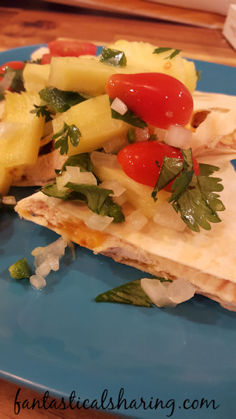 Chipotle Chicken & Cheese Quesadillas | Very simple quesadillas with creamy chipotle cheese and topped with pineapple pico de gallo. #recipe #quesadilla #pineapple
