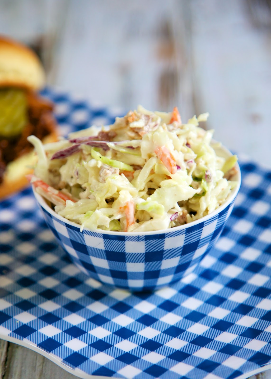 Quick Bacon Ranch Slaw - only 3 ingredients! Perfect side dish for BBQ and sandwiches!