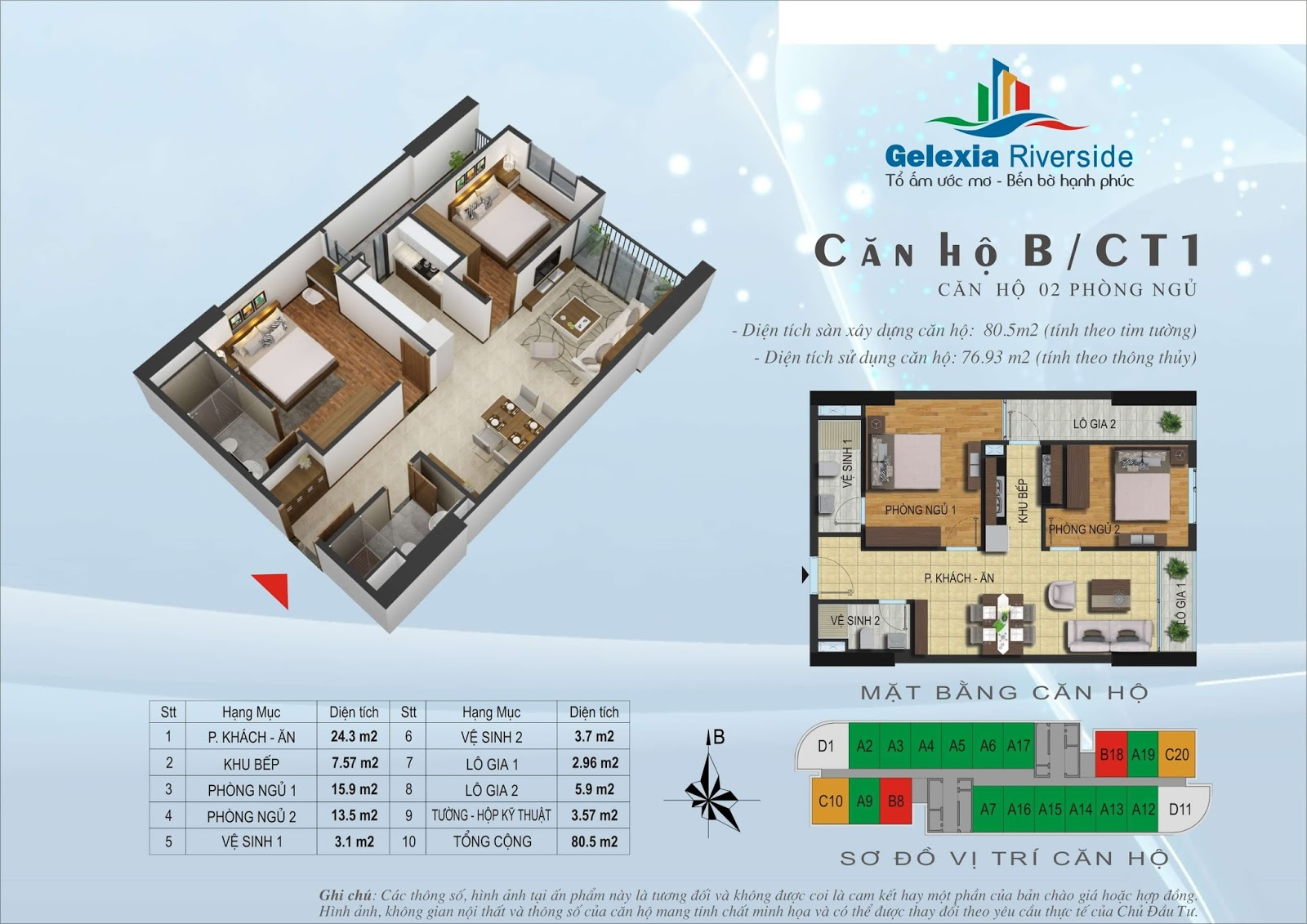 Mặt bằng căn hộ 80,5 m2 tòa CT1 - Gelexia Riverside