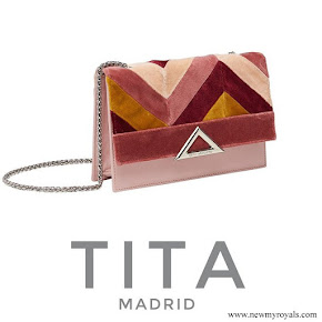 Queen Letizia carried Tita Madrid Spiga Clutch
