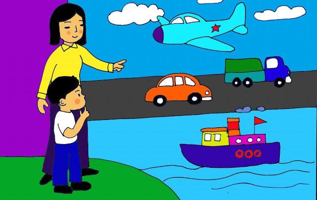Tranh vẽ trường mầm non của bé - chủ đề giao thông