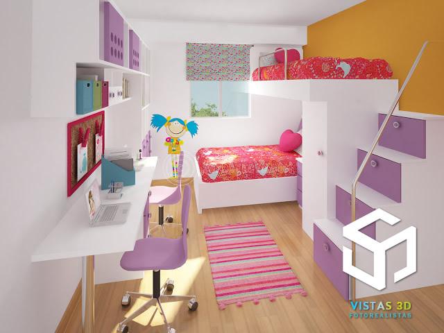Imagen en 3d de dormitorio de ni a con centro de estudio for Muebles para recamara de nina