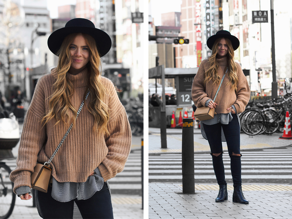 tokyo street style, winter outfit, chunky camel knit sweater, oroton forte bag, acne jensen boots, kiara king