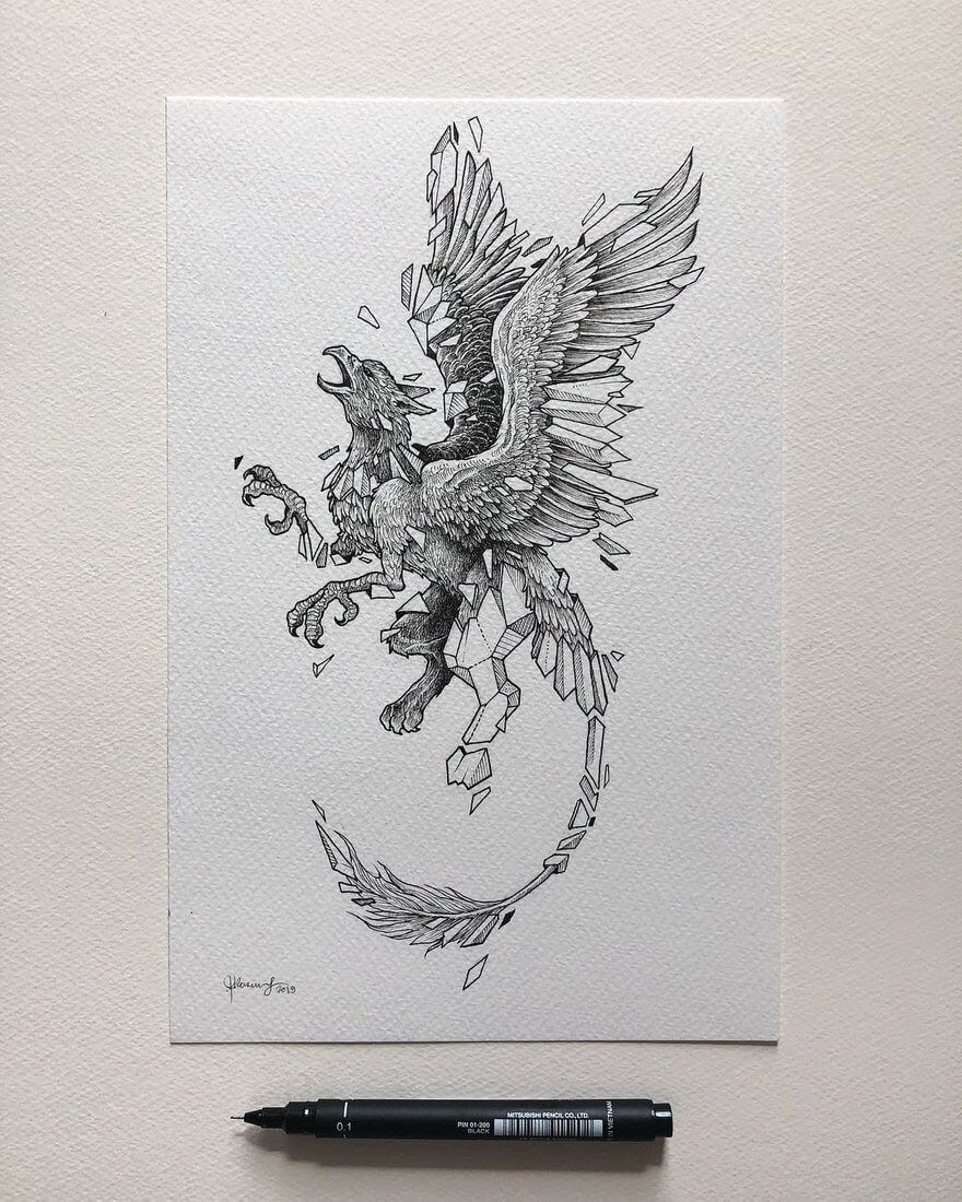 08-Mythical-The-Griffin-Kerby-Rosanes-Free-Hand-Detailing-and-Doodling-www-designstack-co