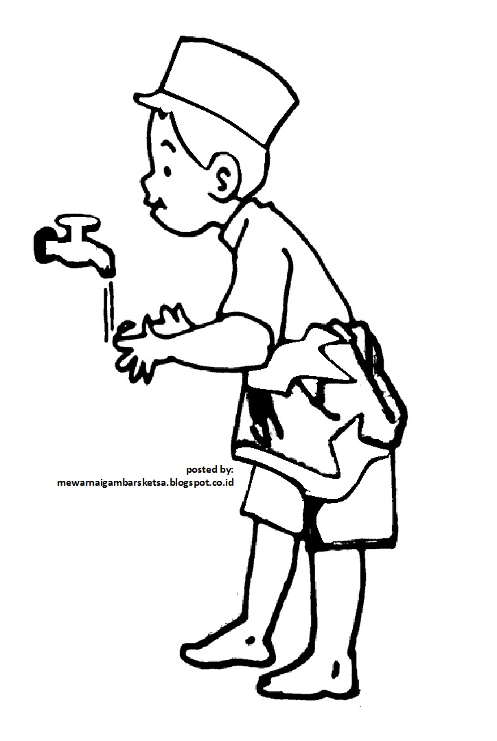 Mewarnai Gambar Mewarnai Gambar Sketsa Kartun Anak Muslim 14 Sedang