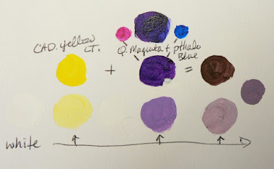 Color palette: cadmium yellow light, quinacridone magenta, and pthaloblue.