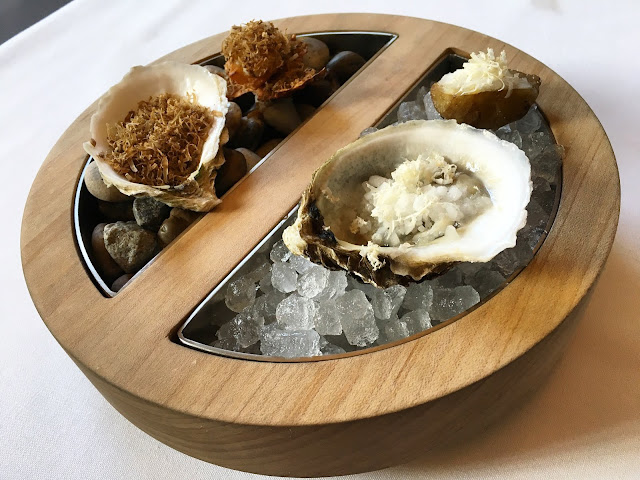 Oysters and Sunchokes Served Hot and Cold
