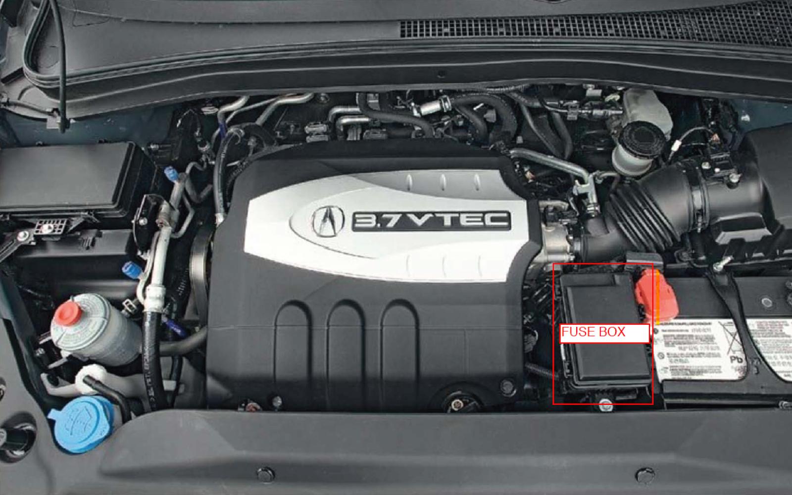 medium resolution of 2007 mdx engine fuse box identified in red