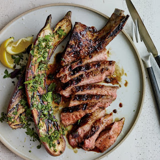 http://www.foodandwine.com/recipes/grilled-pork-chops-malt-and-burnt-onion-glaze