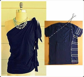 Tişörtten Omzu Açık Bluz Yapımı, Resimli Açıklamalı