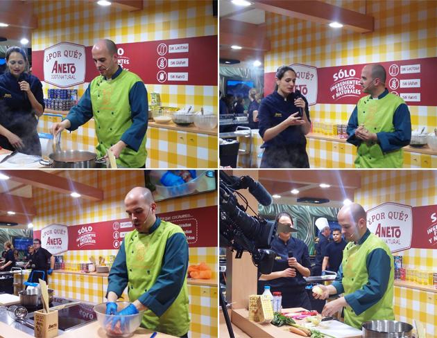 Showcooking de El Saber Culinario en Alimentaria con Aneto