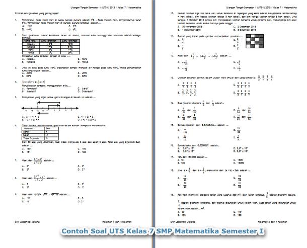 Contoh Soal UTS Kelas 7 SMP Matematika Semester I