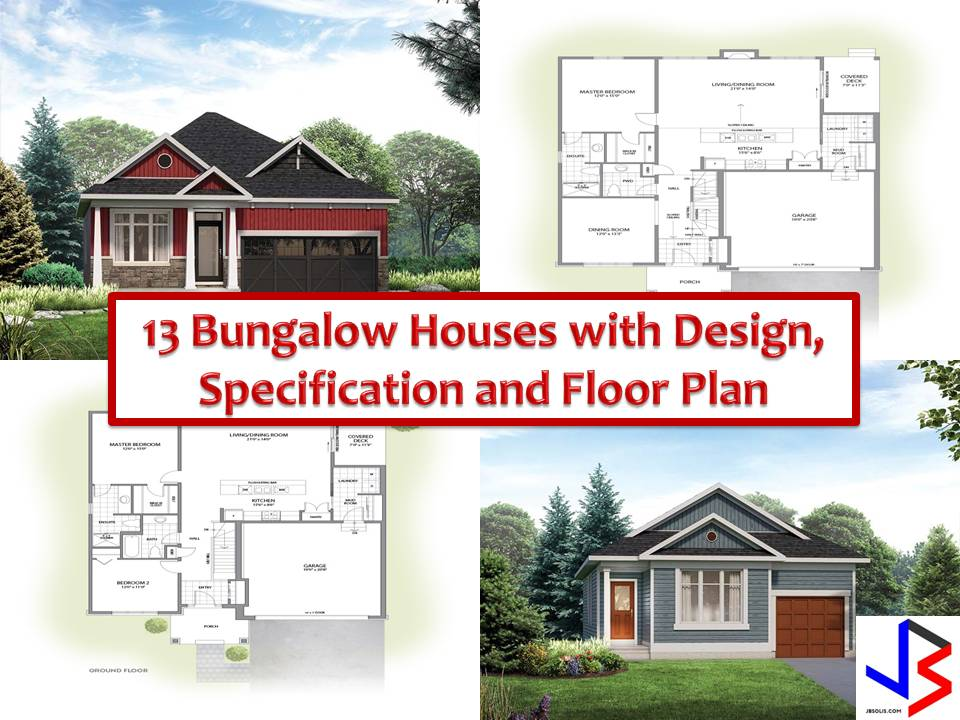Here are some designs of Bungalow houses from the website eqhomes.ca that Filipinos can re-create here in the country. We all know that Bungalow houses are timeless and beneficial for homeowners with kids or living with old age since it has an accessible floor plan and one-storey layouts.  The following pictures are modern Bungalow design with two bedrooms, two toilet-and-bath, and garage. It has a floor plan for you to visualize what's inside of these beautiful houses.