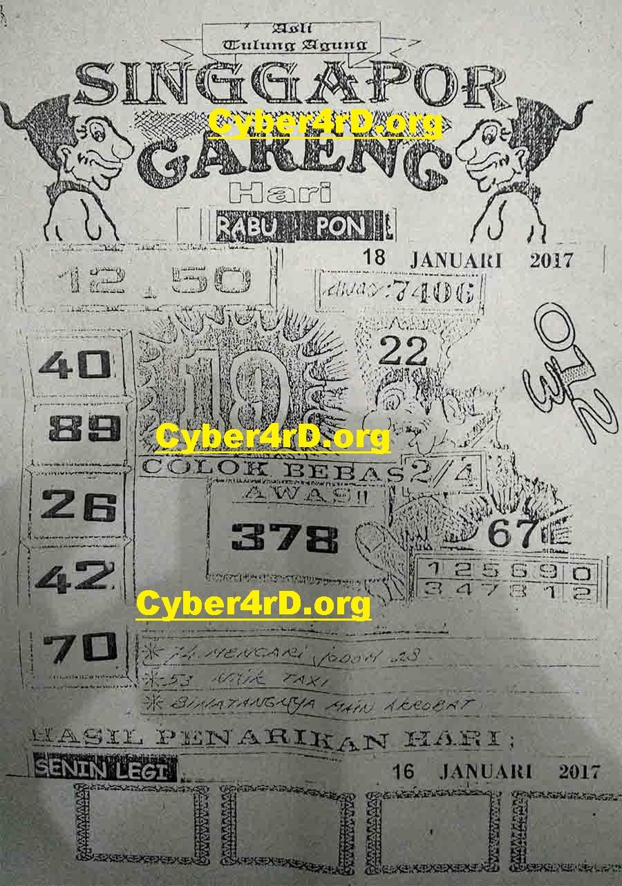 Syair Bergambar Togel Jawa Rabu 18 Januari 2017