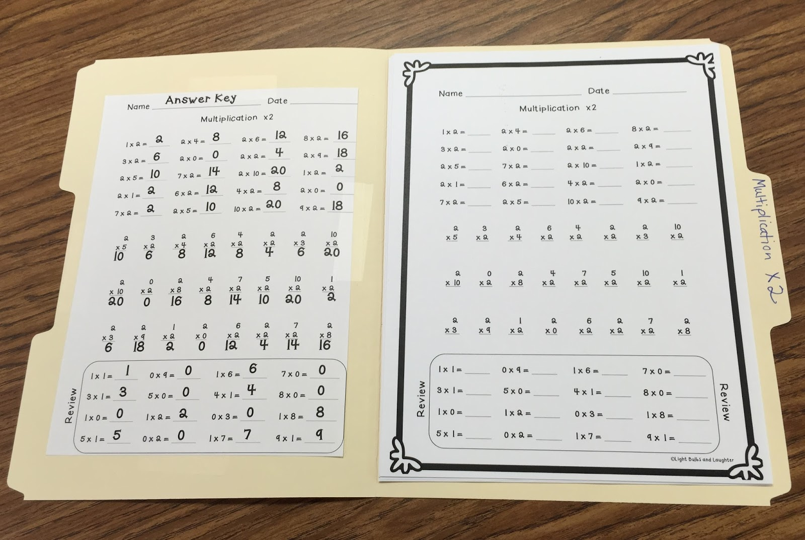 Multiplication Fact Fluency Assessment - Light Bulbs and Laughter Blog