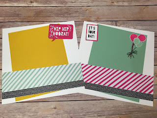 These Melon Mambo, Crushed Curry, and Mint Macaron Birthday 12x12 Scrapbook Pages use Stampin' Up!'s: Party Pop Up Thinlits, Party with Cake stamp set, It's My Party Designer Paper, Baker's Twine Combo Pack, Balloon Celebration stamp set, and the Balloon Bouquet punch!  www.stampwithjennifer.blogspot.com