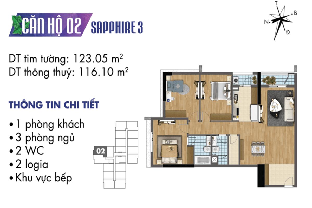 Mặt bằng căn hộ 02 tòa Sapphire 3