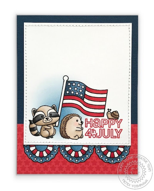 Sunny Studio Stamps: Critter Campout & Stars & Stripes Fourth of July Raccoon & Hedgehog Card by Mendi Yoshikawa