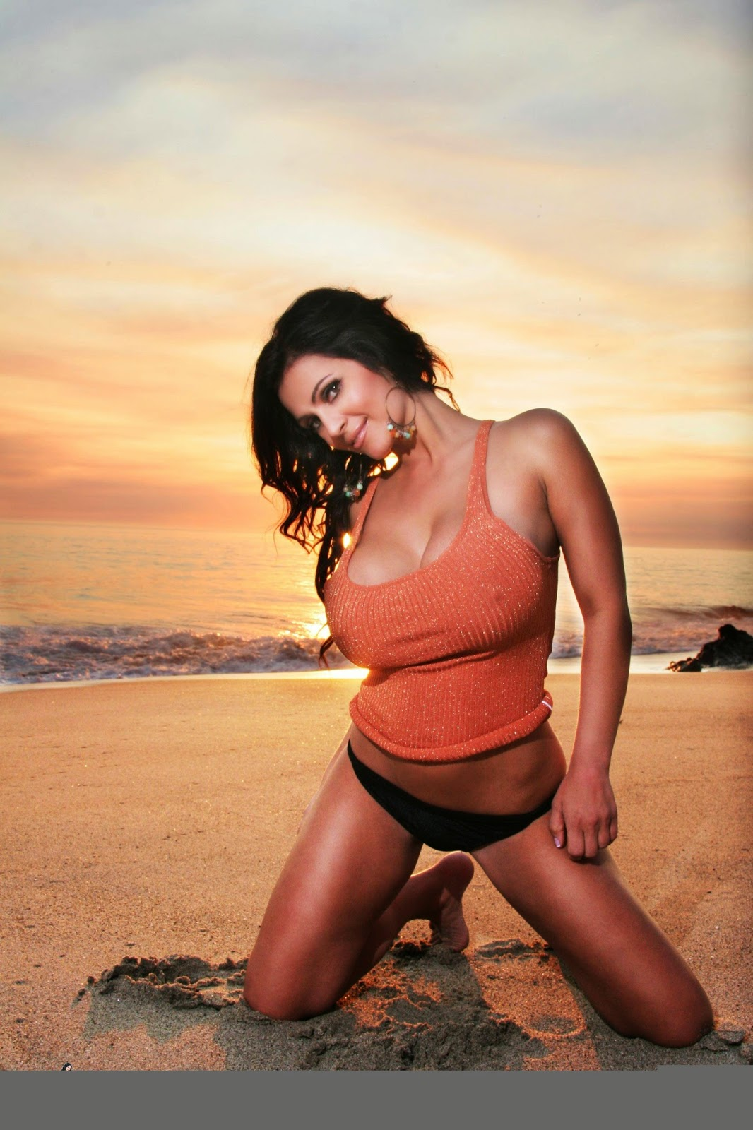 Denise Milani Archives Sunset Orange Tank Top