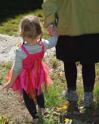 photo of: Child Walking Independently with Adult at PreK +K Sharing