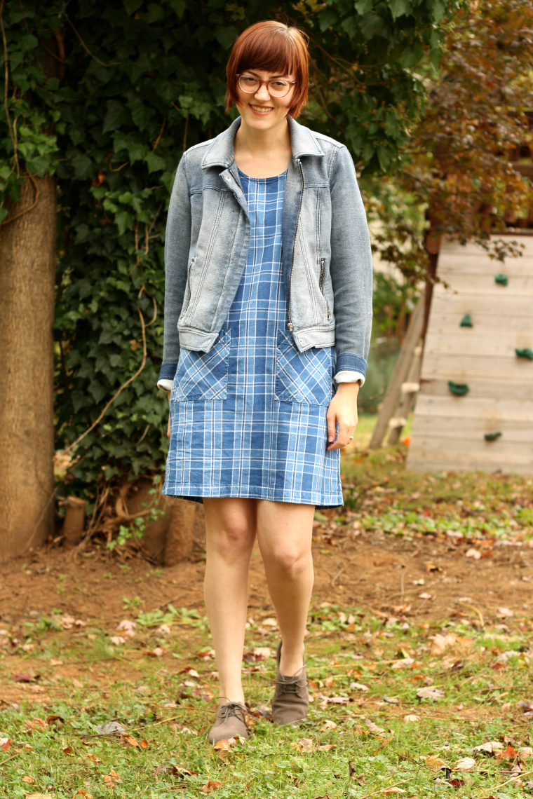 thrifted, ethical outfit with plaid dress