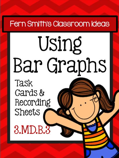 Fern Smith's Classroom Ideas Using Bar Graphs Task Cards, Recording Sheets and Answer Keys with a Cute Ready for School Kid Theme at TeacherspayTeachers.