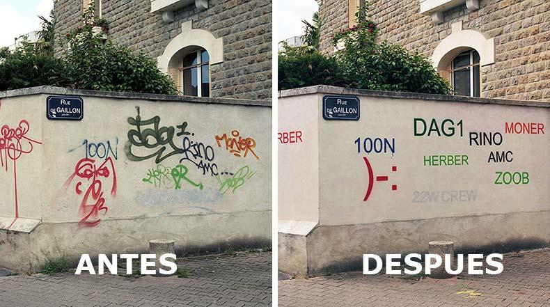 Artista pinta sobre grotescas etiquetas de graffiti y los hacen legible
