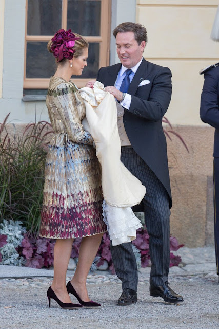 Princess Madeleine of Sweden wore Valentino jacquard mini dress and Gianvito Rossi Purple Velvet Pointed Toe Pump
