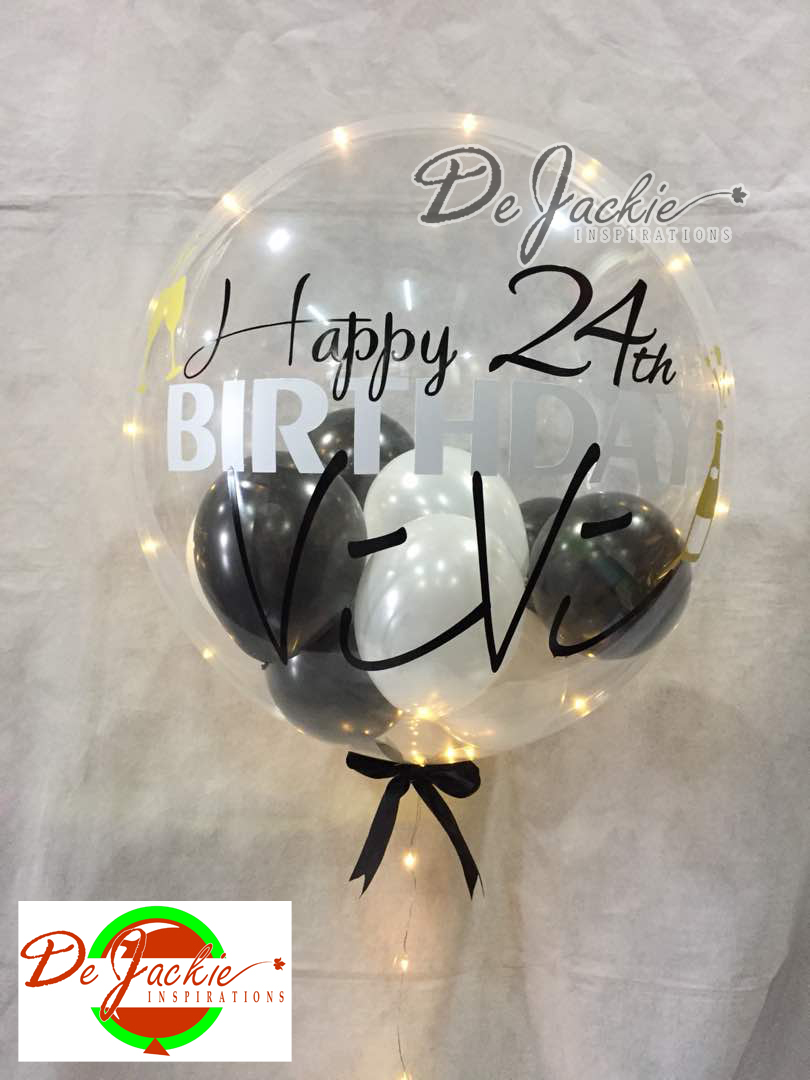 24th Birthday Bubble Balloon With LED Lighting