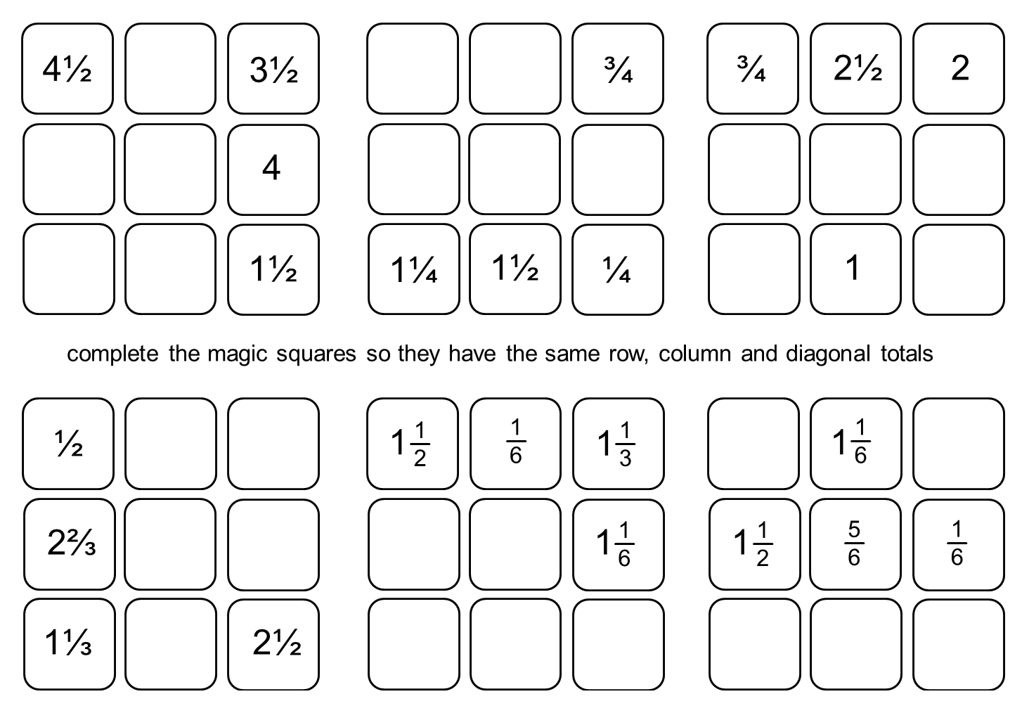 median Don Steward Magic Squares: fraction practice