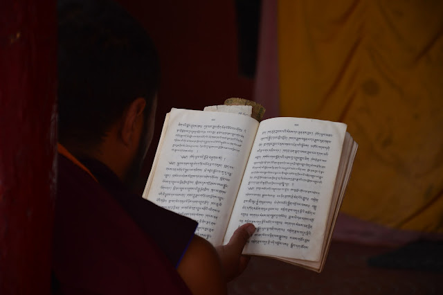 Lecture de prière dans un monastère au Ladakh