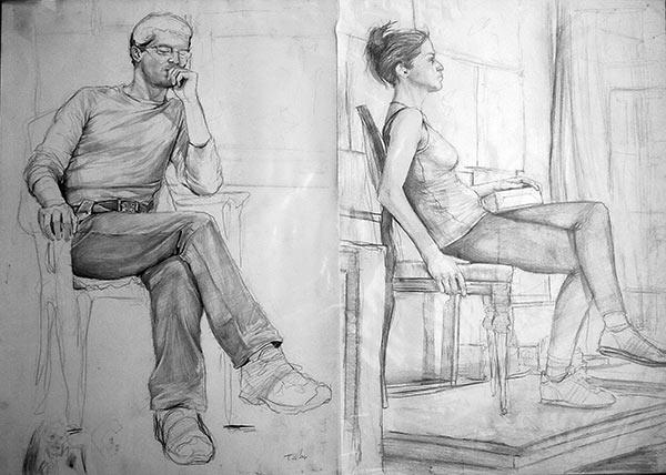 Güzel Sanatlar Sanat Formları Karakalem Oturan Adam Karakalem