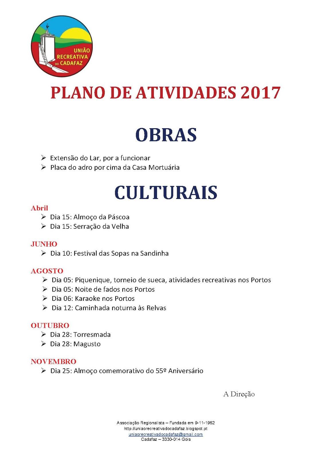 a8e36bfafa UNIÃO RECREATIVA DO CADAFAZ  Plano de Atividades 2017