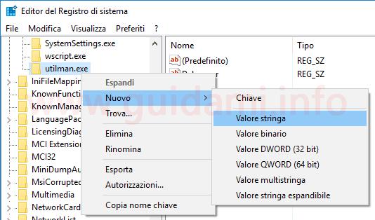 Windows 10 Registro sistema creare nuovo valore stringa