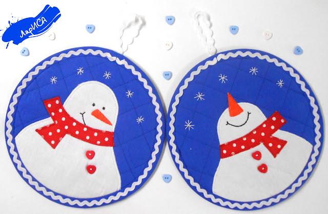 Прихватки -снеговики