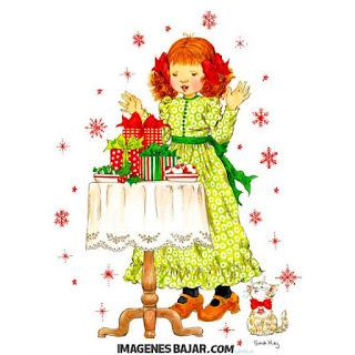 Tarjeta navideña clásica Niña y gatito recibiendo regalos